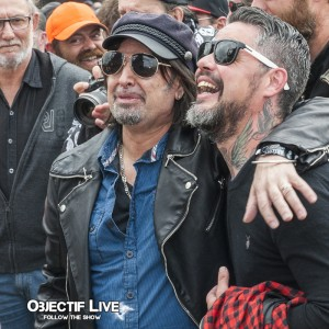 Phil Campbell et Ben Barbaud - inauguration statue Lemmy (Hellfest 2016)
